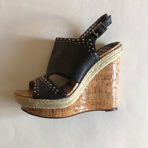 Jessica Simpson Black Studded Wedges